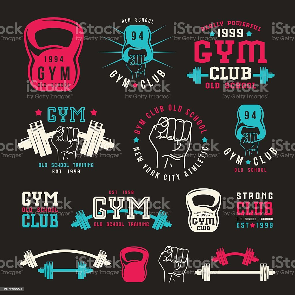 Stock vector illustration of gym club emblem – Vektorgrafik