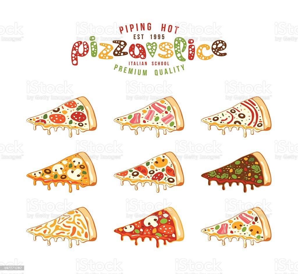 Stock vector Illustration of pizza slices Lizenzfreies stock vector illustration of pizza slices stock vektor art und mehr bilder von abzeichen