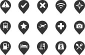 Stock Vector Illustration: Pin icons