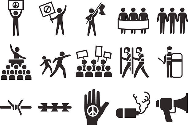 Stock Vector Illustration: Protest icons Stock Vector Illustration: Protest icons civil rights stock illustrations
