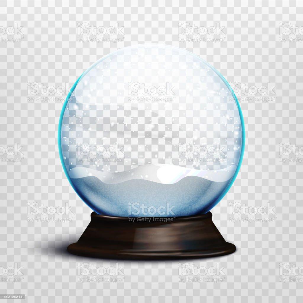 Stock Vector Illustration Realistic Empty Christmas Snow Globe ...