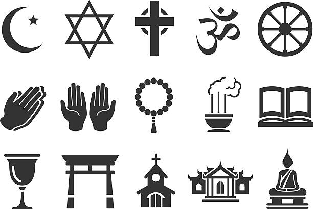Stock Vector Illustration: Religious icons Stock Vector Illustration: Religious icons religious symbol stock illustrations