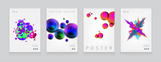 lager vektor-illustration legen fließende formen, die poster mit moderner hipster und memphis hintergrundfarben deckt. vorlagen für plakate, banner, flyer, präsentationen und berichte. eps 10 - edm stock-grafiken, -clipart, -cartoons und -symbole