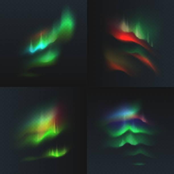 bildbanksillustrationer, clip art samt tecknat material och ikoner med lager vektorillustration ange norra och polar belysningen isolerade på en transparent rutig bakgrund. magnetiska stormar. aurora borealis. eps 10 - northern lights