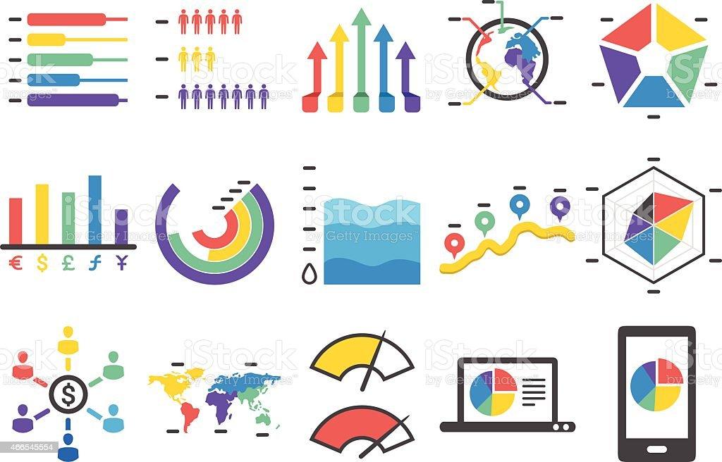 Stock Vector Illustration: Stat and Info icons set1 vector art illustration