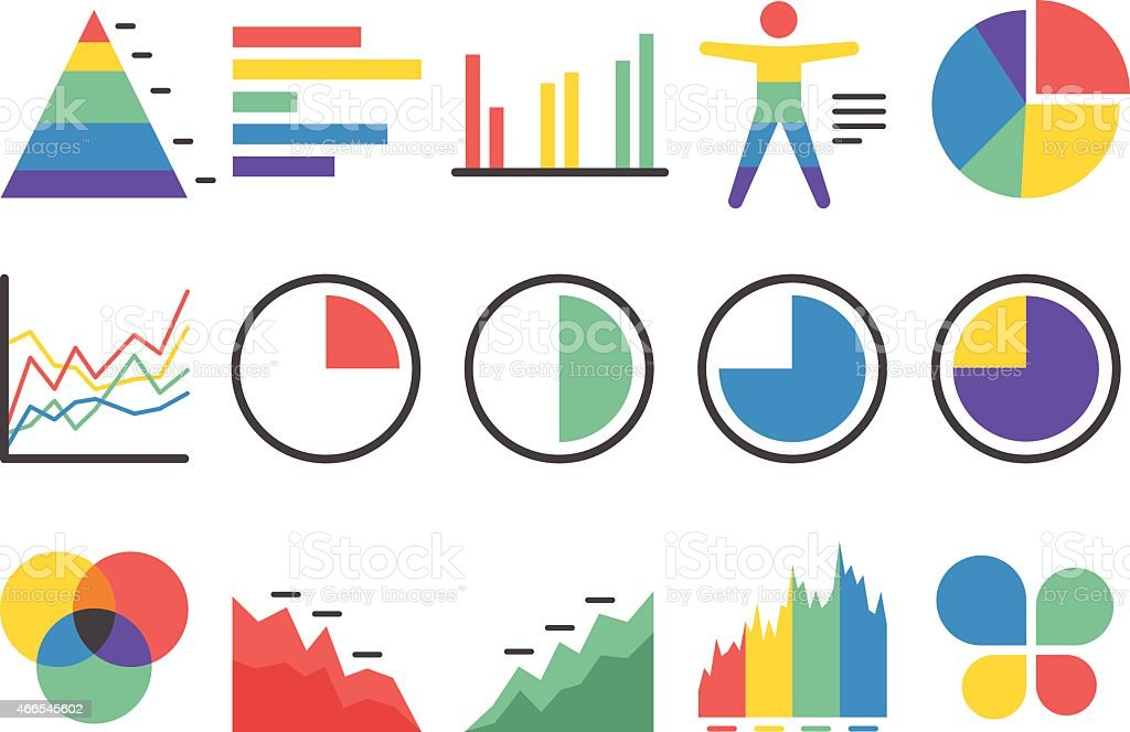 Stock Vector Illustration: Stat and Info icons set2