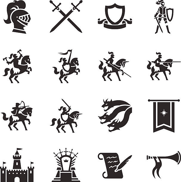 stock vector illustration: the middle ages - knight in shining armor stock illustrations, clip art, cartoons, & icons