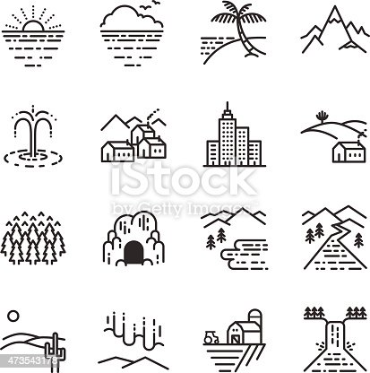 Set of travel destination view icons in linear design.