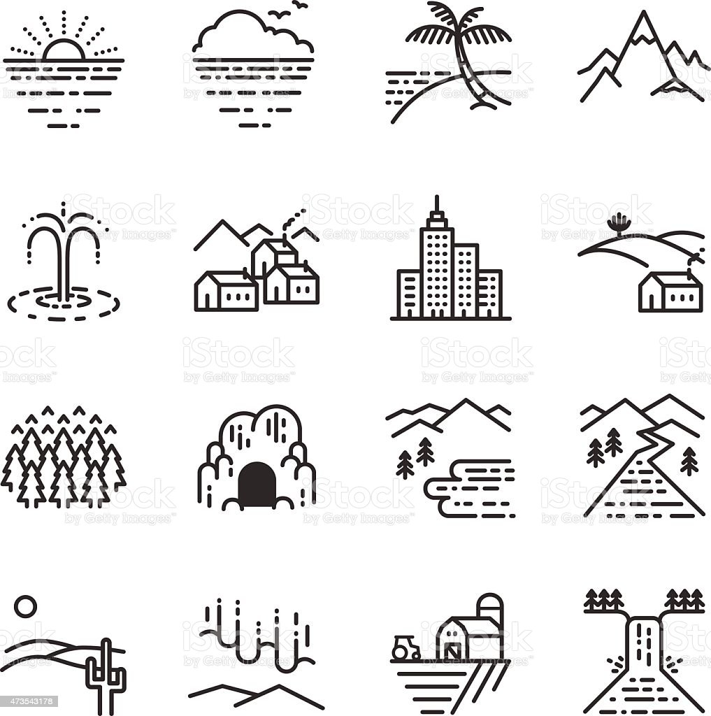 Stock Vector Illustration: Travel locations line icon vector art illustration