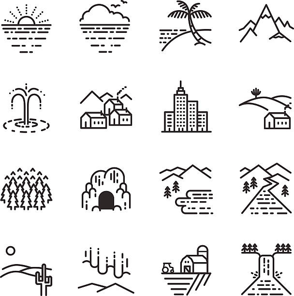stock-illustration:  reisen-hotels-linie-icon - villas stock-grafiken, -clipart, -cartoons und -symbole