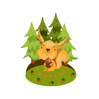 Stock vector illustration with cute baby squirrel holding acorn on the lawn in the forest.