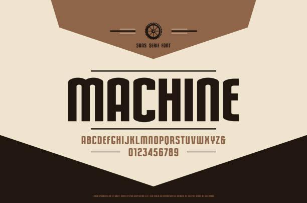 aktie vector schmale sans-serif-schrift - steampunk stock-grafiken, -clipart, -cartoons und -symbole