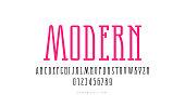 Stock vector narrow slab serif font