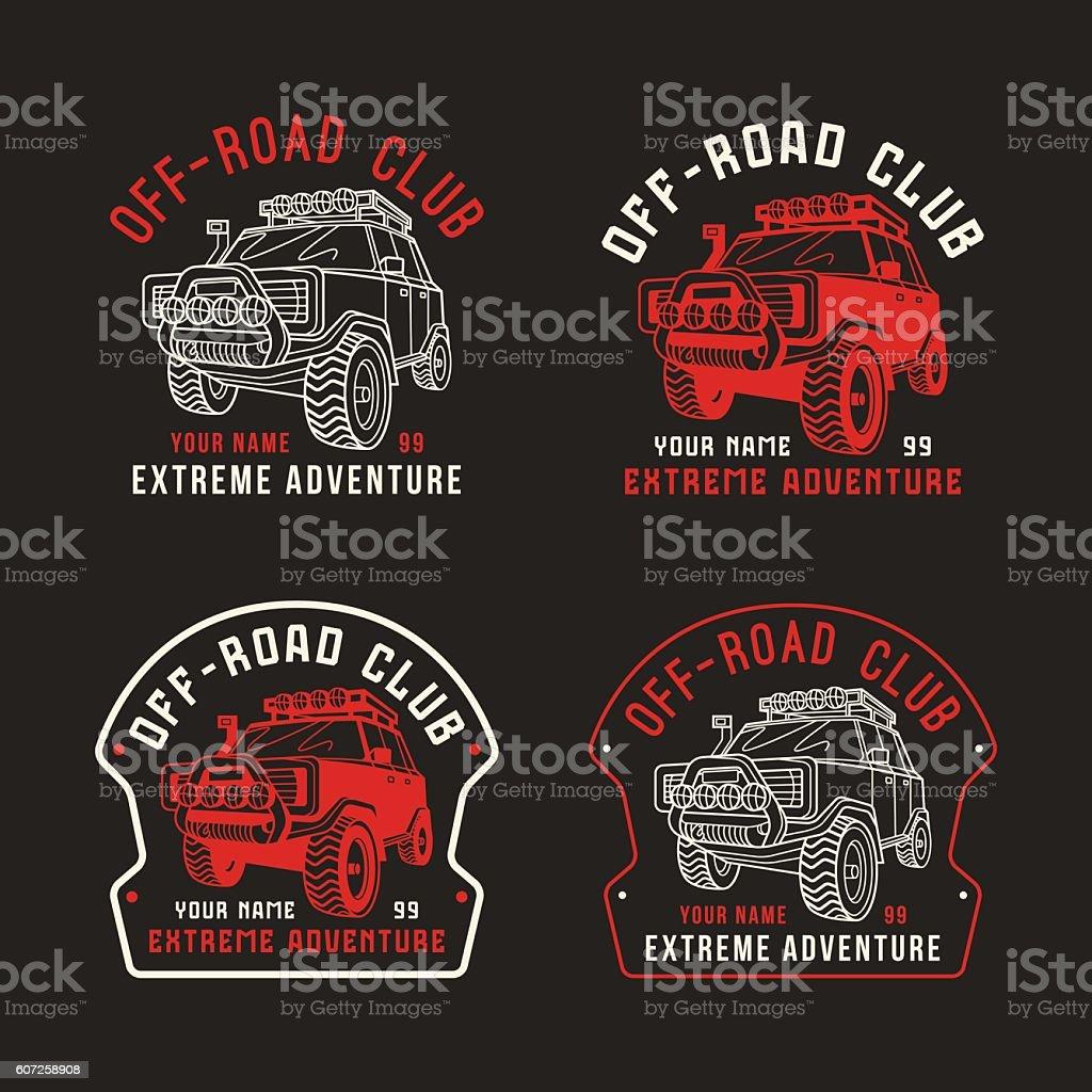 Stock vector off-road club emblem vector art illustration