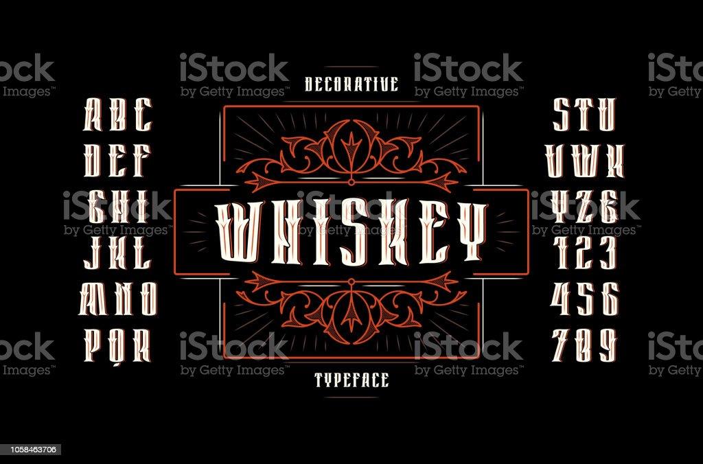 Stock Vector Sans Serif Narrow Decorative Font Stock Vector Art