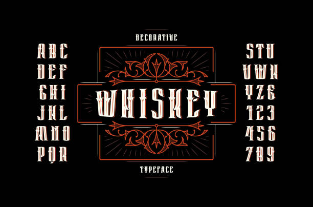 Stock vector sans serif narrow decorative font Stock vector sans serif narrow decorative font, alphabet, typography. Whiskey label template with ornamental frame. Letters and numbers for alcohol label design gothic style stock illustrations
