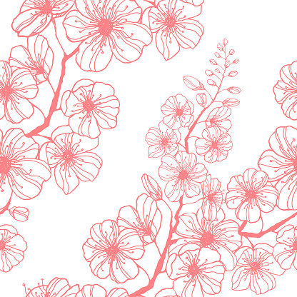 Stock vector seamless pattern with hand-drawn pink sakura branch. Ink illustration silhouette blooming cherry. Decorating Japanese spring holiday wrapping, stationery, bedline, wallpaper and fabric.