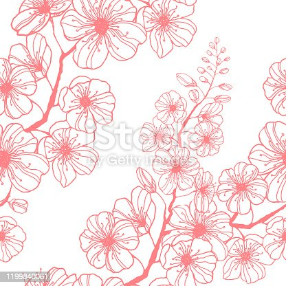 istock Stock vector seamless pattern with hand-drawn pink sakura branch. Ink illustration silhouette blooming cherry. Decorating Japanese spring holiday wrapping, stationery, bedline, wallpaper and fabric. 1199840061