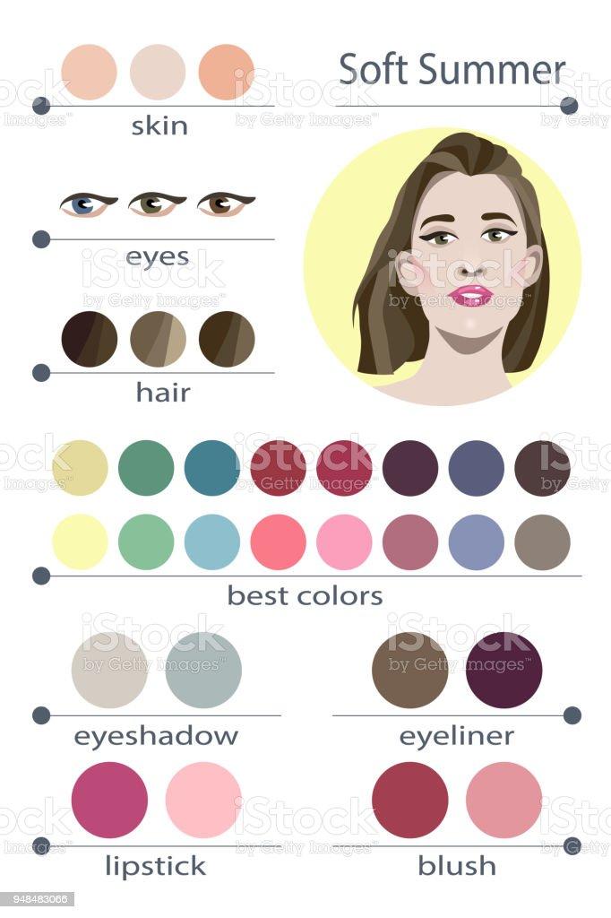 Stock Vector Seasonal Color Analysis Palette For Soft Summer Best