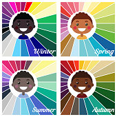 Stock vector seasonal color analysis palettes for different types of boys appearance. Best colors for Autumn, Summer, Winter, Spring