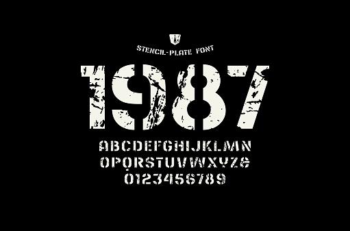 Stock vector stencil-plate sans serif font