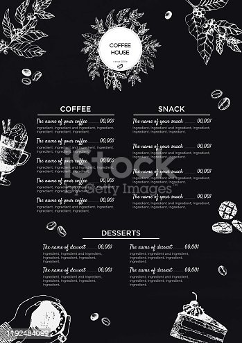 Stock vector template a coffee house or restaurant menu. A beverage flyer for bar and cafe. Template with hand-drawn vintage illustration coffee and desserts by chalk on the black board.