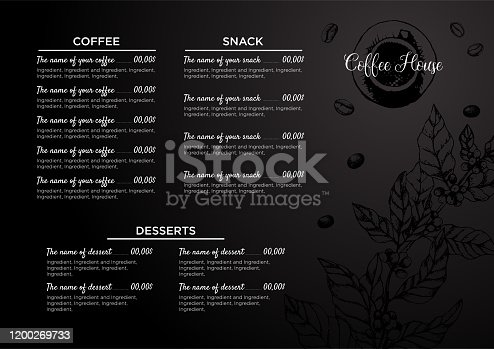 Stock vector template coffee house or restaurant menu. A beverage flyer for bar and cafe. Template with hand-drawn vintage illustration coffee and desserts on the black board.