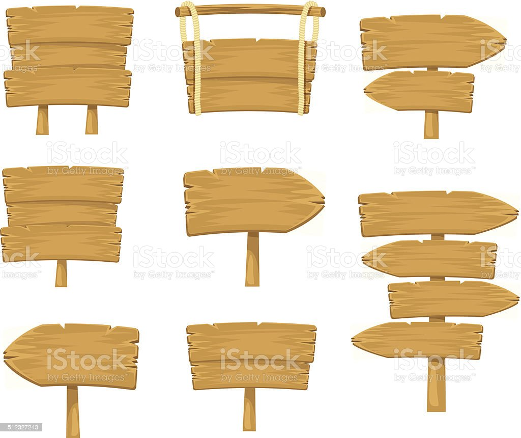 Stock vector wooden sign boards simple set vector art illustration