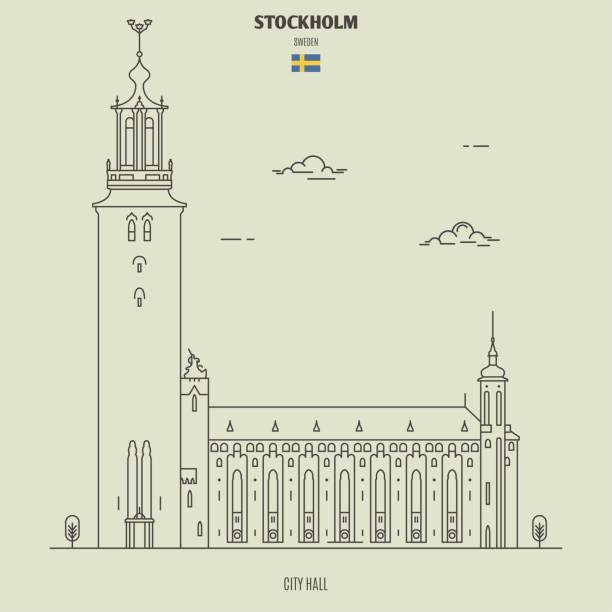 bildbanksillustrationer, clip art samt tecknat material och ikoner med stockholms stadshus, sverige. ikon för landmärke - stockholm