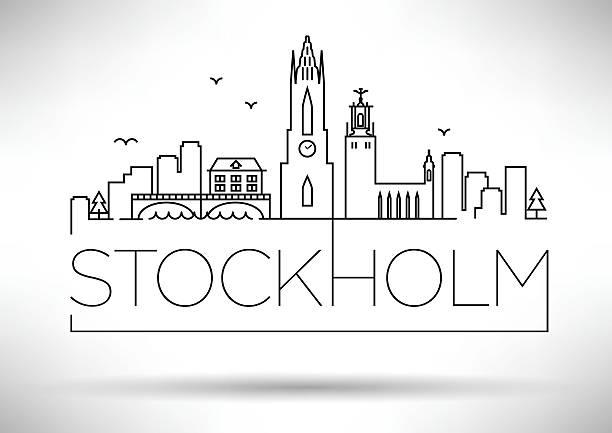 bildbanksillustrationer, clip art samt tecknat material och ikoner med stockholm city line silhouette typographic design - skyline stockholm