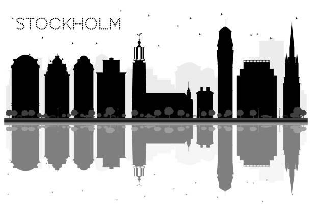 bildbanksillustrationer, clip art samt tecknat material och ikoner med stockholm city skyline svartvit siluett med reflektioner. - skyline stockholm