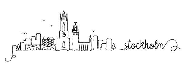 bildbanksillustrationer, clip art samt tecknat material och ikoner med stockholm city skyline doodle sign - skyline stockholm