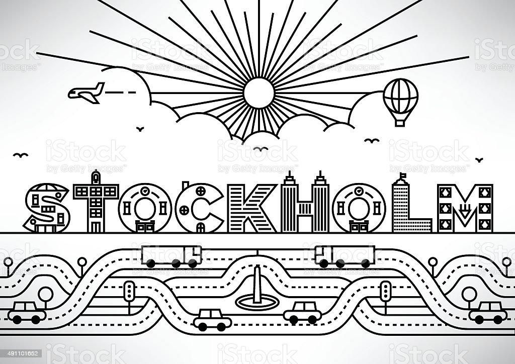 ストックホルムの街並みのタイポグラフィーデザイン、建物の文字 - イラスト素材...