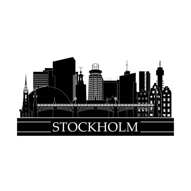 bildbanksillustrationer, clip art samt tecknat material och ikoner med stockholms stadsbild linje konst design. svarta och vita landmärken i staden. vektor illustration. - skyline stockholm