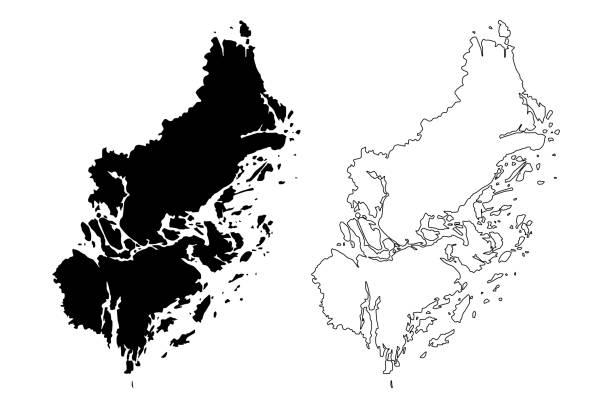 bildbanksillustrationer, clip art samt tecknat material och ikoner med stockholms läns landsting (sverige) karta vektor illustration, klotter skiss stockholm karta - stockholm