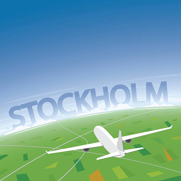 bildbanksillustrationer, clip art samt tecknat material och ikoner med stockholm flight destination - stockholm overview