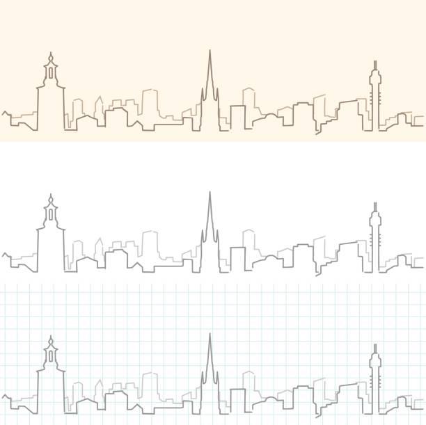 bildbanksillustrationer, clip art samt tecknat material och ikoner med stockholm hand dras skyline - skyline stockholm