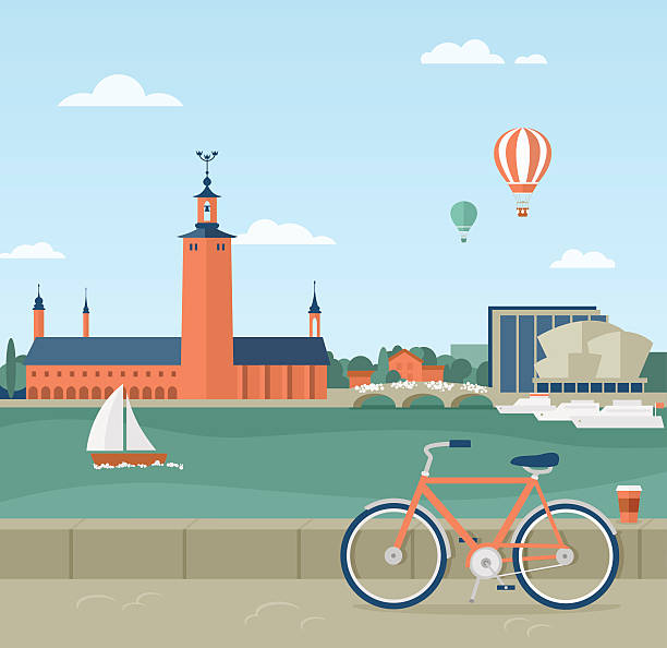 Stockholm seaside promenade, view of the City Hall Flat illustration of seaside promenade in Stockholm, Sweden. View of the Town Hall. In the foreground a bicycle and a cup of coffee  waterfront stock illustrations