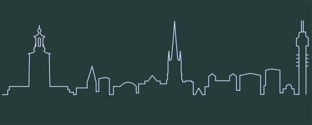 bildbanksillustrationer, clip art samt tecknat material och ikoner med stockholms enda rad skyline - skyline stockholm