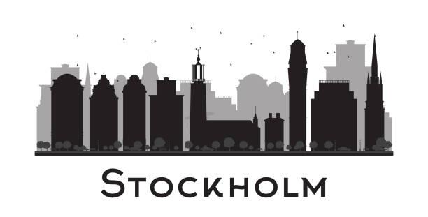 bildbanksillustrationer, clip art samt tecknat material och ikoner med stockholm skyline black and white silhouette. - stockholm