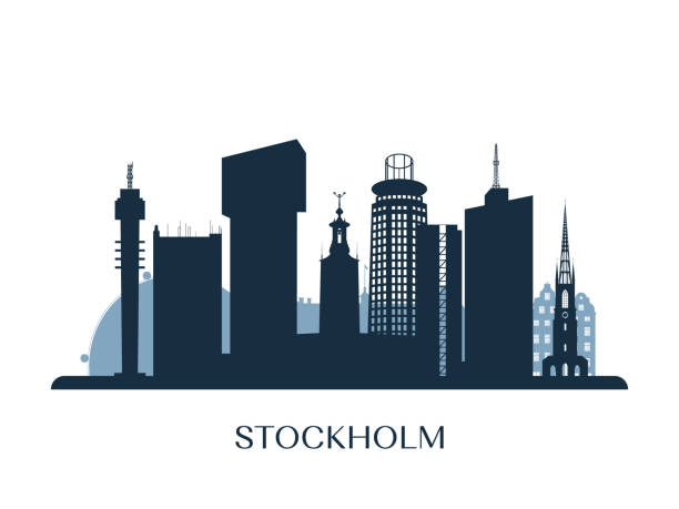 bildbanksillustrationer, clip art samt tecknat material och ikoner med stockholm skyline, svartvit siluett. vektorillustration. - skyline stockholm
