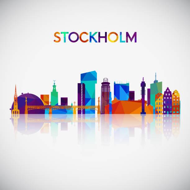 bildbanksillustrationer, clip art samt tecknat material och ikoner med stockholm skyline siluett i färgglada geometriska stil. symbol för din design. vektorillustration. - stockholm
