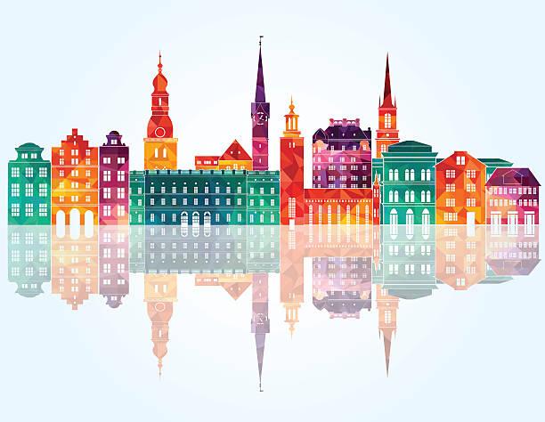 bildbanksillustrationer, clip art samt tecknat material och ikoner med stockholm skyline. vector illustration - stockholm