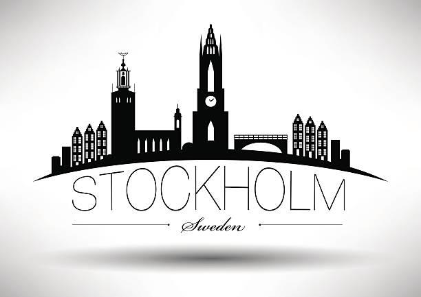 bildbanksillustrationer, clip art samt tecknat material och ikoner med stockholm skyline with typographic design - skyline stockholm