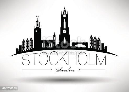 die skyline von stockholm mit schriftzug stock vektor art. Black Bedroom Furniture Sets. Home Design Ideas