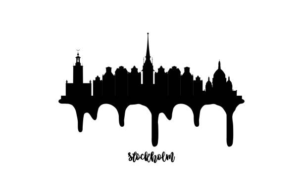 bildbanksillustrationer, clip art samt tecknat material och ikoner med stockholm sverige svart skyline siluett vektor illustration på vit bakgrund med droppande bläck effekt. - stockholm
