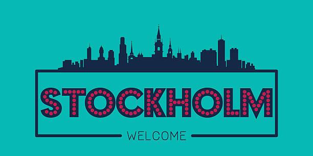 bildbanksillustrationer, clip art samt tecknat material och ikoner med stockholm sweden city skyline silhouette - skyline stockholm
