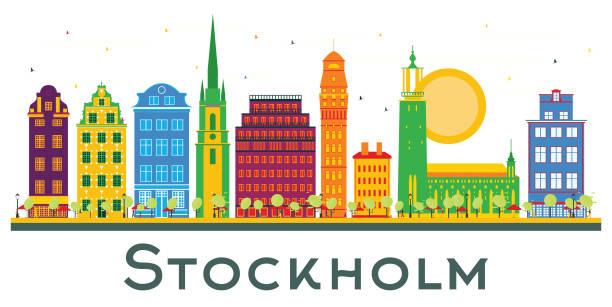 bildbanksillustrationer, clip art samt tecknat material och ikoner med stockholm sweden city skyline med färgbyggnader isolerade på vitt. - stockholm
