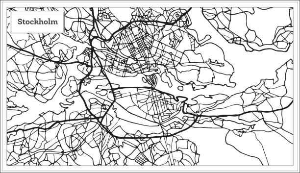 bildbanksillustrationer, clip art samt tecknat material och ikoner med stockholm sverige karta i svartvitt och färg. - stockholm