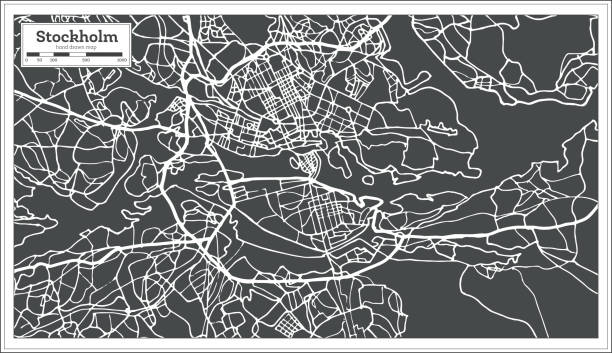 bildbanksillustrationer, clip art samt tecknat material och ikoner med stockholm sverige karta i retrostil. konturkarta. - stockholm